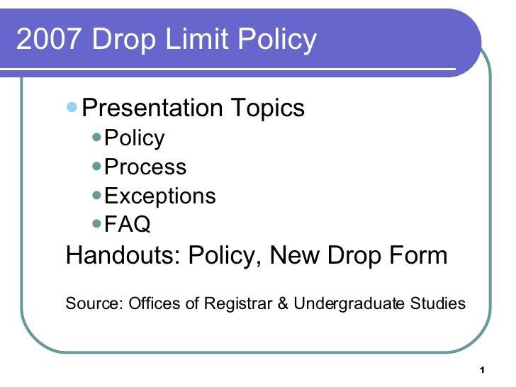 2007 Drop Limit Policy <ul><ul><li>Presentation Topics </li></ul></ul><ul><ul><ul><li>Policy </li></ul></ul></ul><ul><ul><...