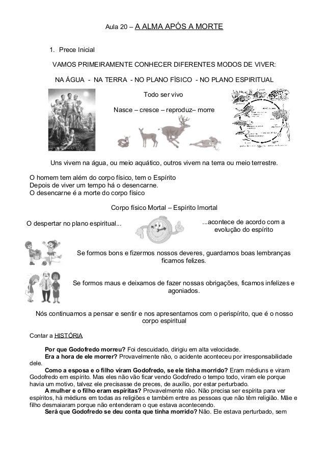 Aula 20 – A ALMA APÓS A MORTE 1. Prece Inicial VAMOS PRIMEIRAMENTE CONHECER DIFERENTES MODOS DE VIVER: NA ÁGUA - NA TERRA ...