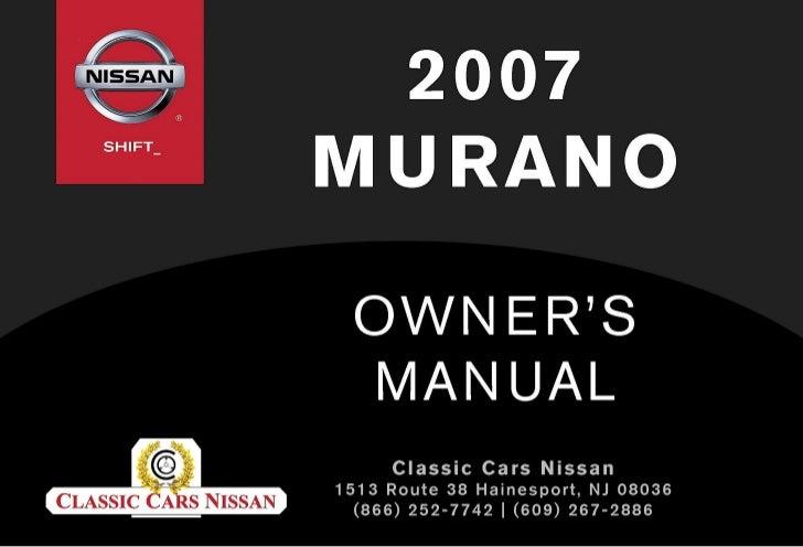 2007 murano owner s manual rh slideshare net 2007 nissan murano user manual 2007 nissan murano manual