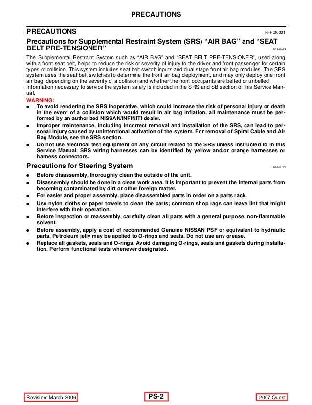 2007 nissan-quest-power-steering repair manual