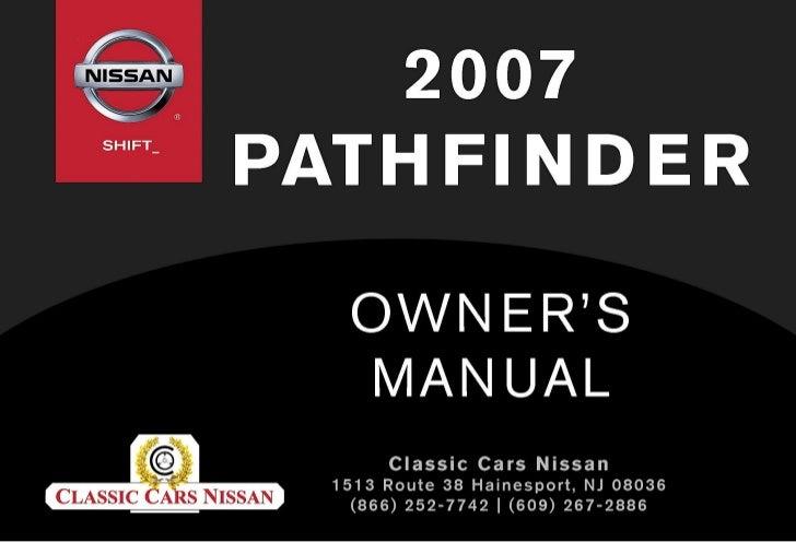 2007 pathfinder owner s manual rh slideshare net nissan pathfinder 2007 service manual pdf 08 Nissan Pathfinder