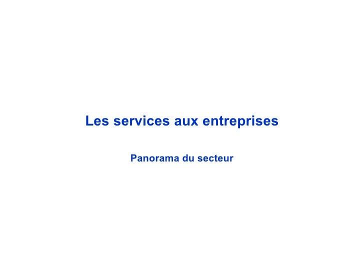 Les services aux entreprises Panorama du secteur
