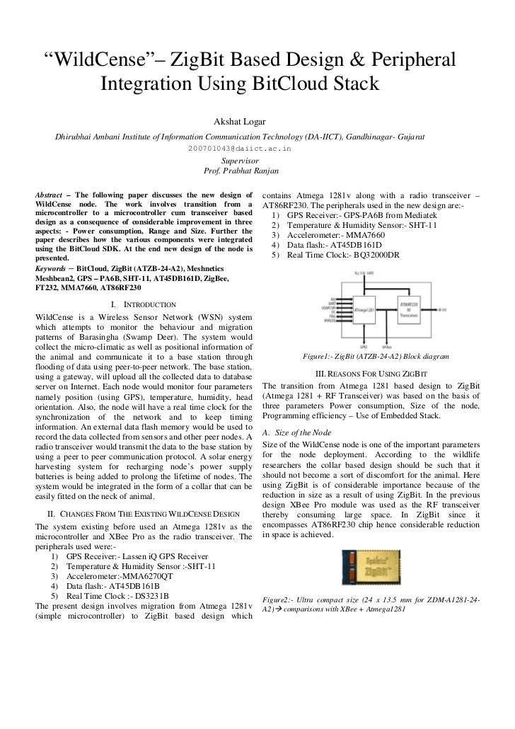 """WildCense""– ZigBit Based Design & Peripheral       Integration Using BitCloud Stack                                      ..."