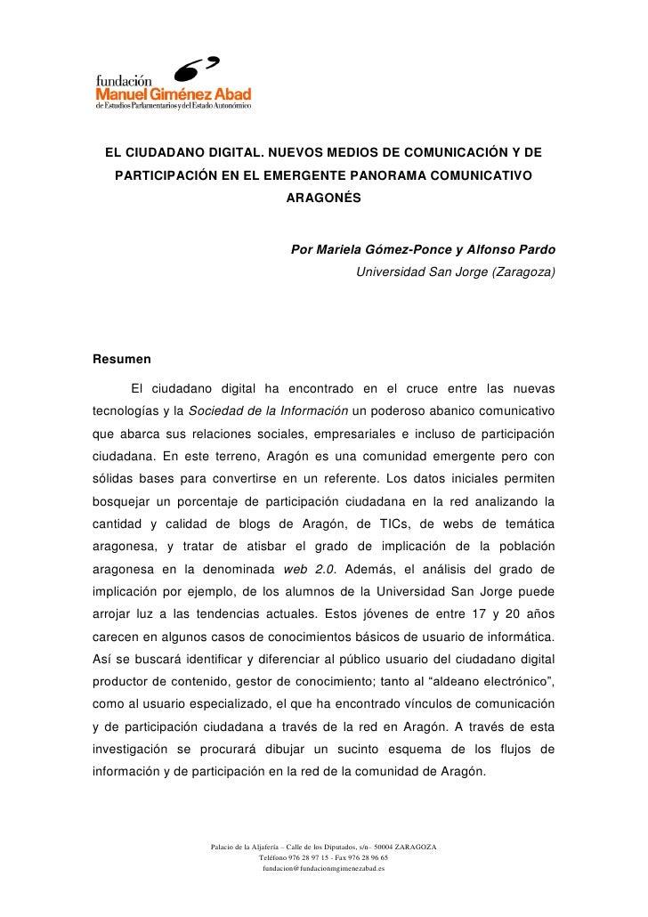 EL CIUDADANO DIGITAL. NUEVOS MEDIOS DE COMUNICACIÓN Y DE   PARTICIPACIÓN EN EL EMERGENTE PANORAMA COMUNICATIVO            ...