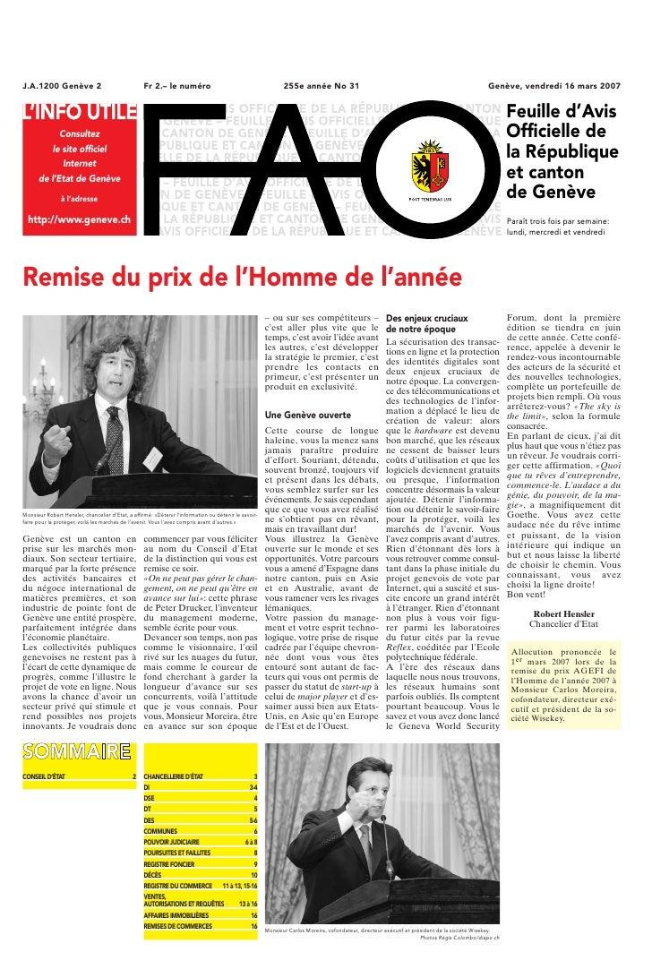 J.A.1200 Genève 2                                  Fr 2.– le numéro                                        255e année No 3...