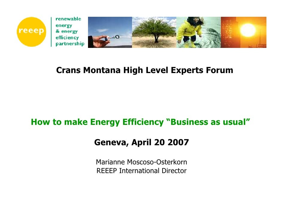 "Crans Montana High Level Experts Forum     How to make Energy Efficiency ""Business as usual""                Geneva, April ..."