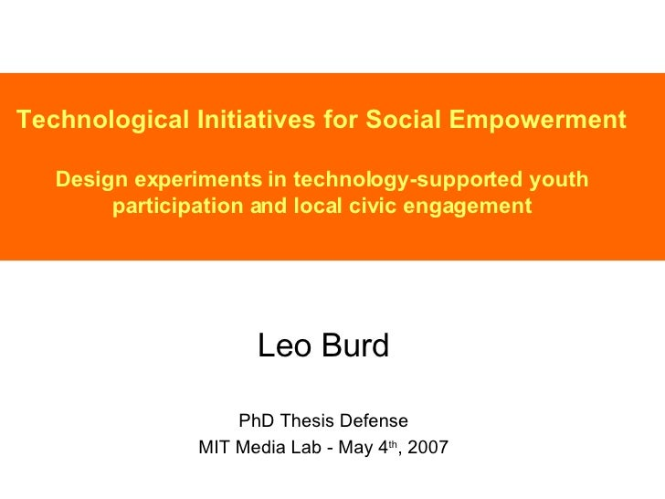 Technological Initiatives for Social Empowerment Design experiments in technology-supported youth participation and local ...