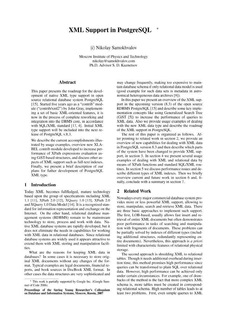 20070601 Syrcodis2007 Xml Support In Postgresql