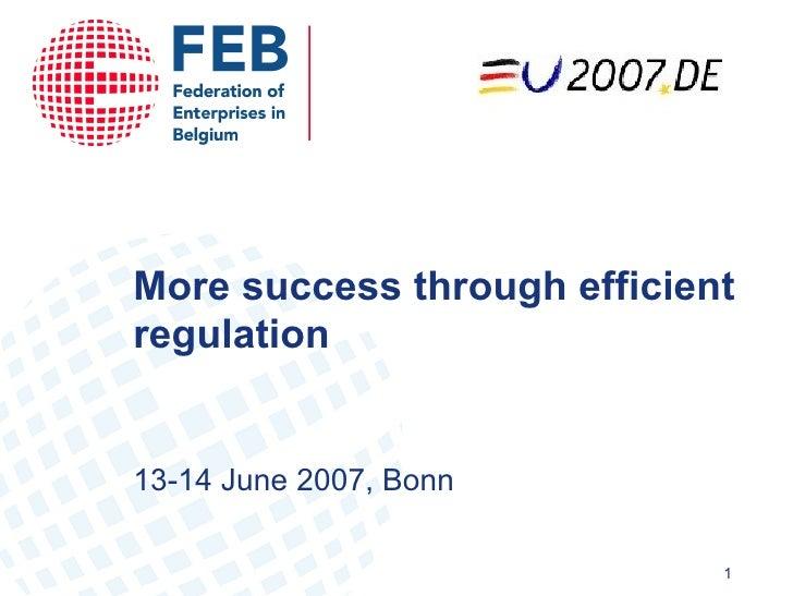 More success through efficient regulation 13-14  June 2007,  Bonn