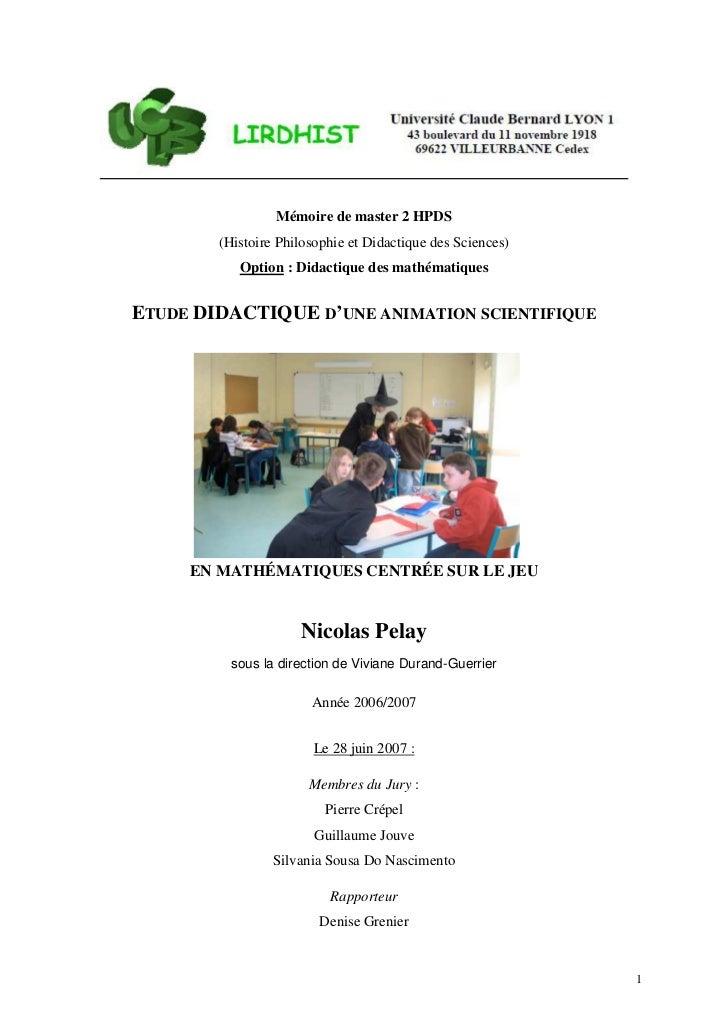 Mémoire de master 2 HPDS        (Histoire Philosophie et Didactique des Sciences)           Option : Didactique des mathém...