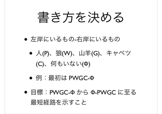 書き方を決める • 左岸にいるもの-右岸にいるもの • 人(P)、狼(W)、山羊(G)、キャベツ (C)、何もいない(Φ) • 例:最初は PWGC-Φ • 目標:PWGC-Φ から Φ-PWGC に至る 最短経路を示すこと