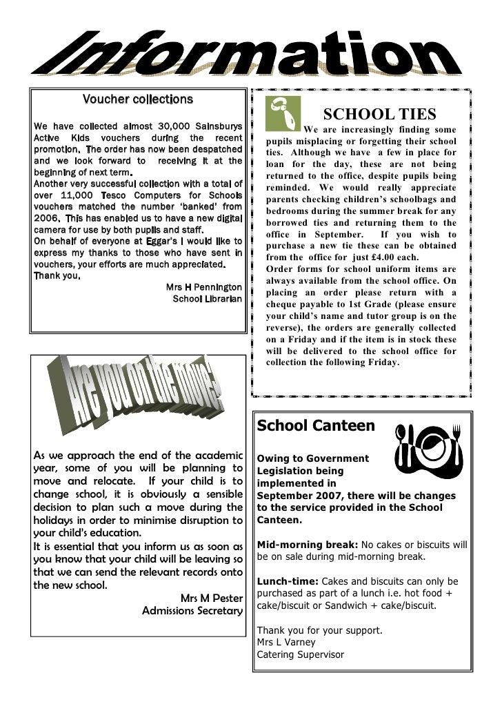 July 2007 School Newsletter