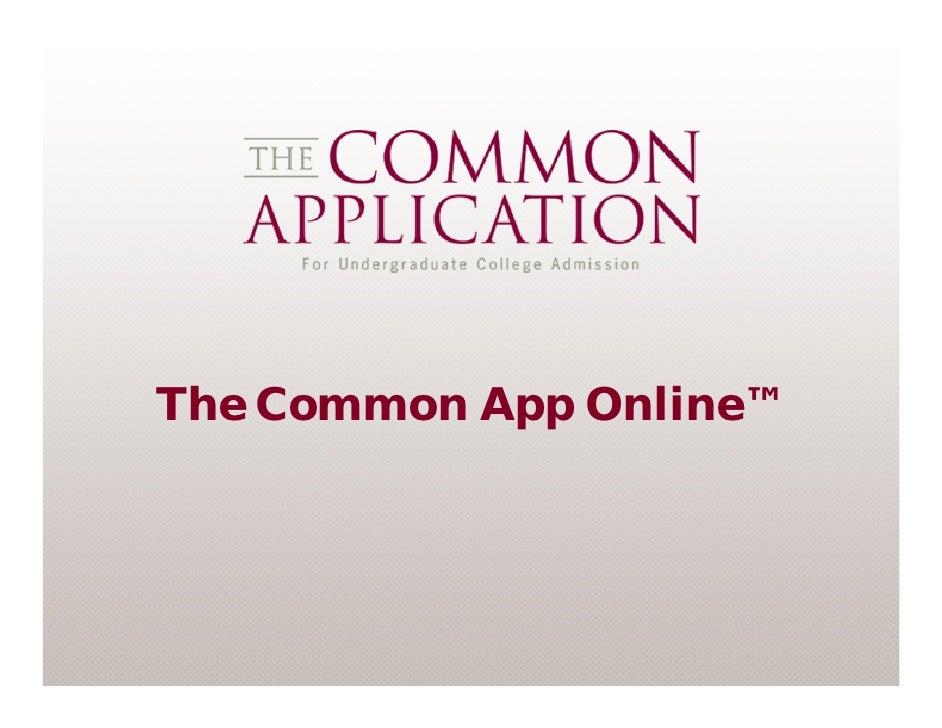 The Common App Online™