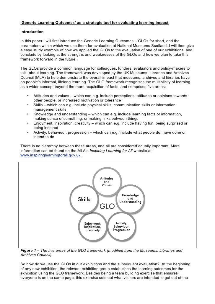 'Generic Learning Outcomes' as a strategic tool for evaluating learning impact  Introduction  In this paper I will first i...