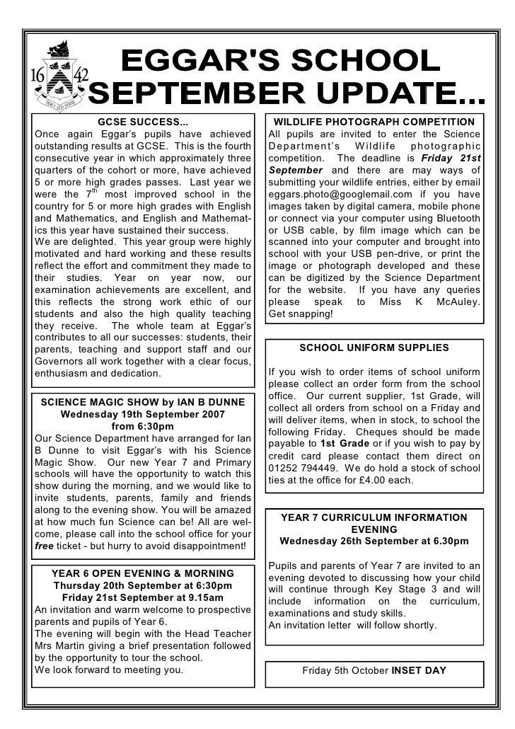 September 2007 School Newsletter