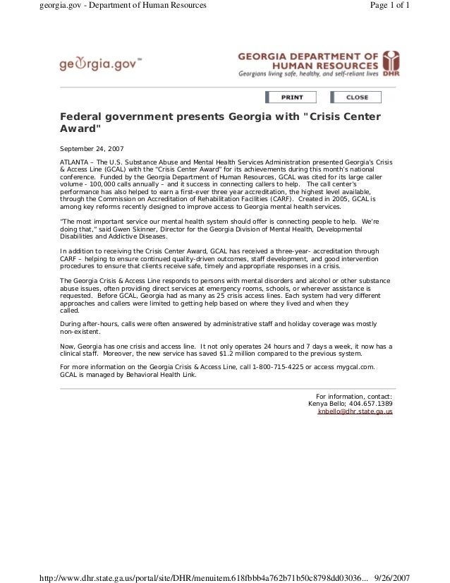 """Federal government presents Georgia with """"Crisis Center Award"""" September 24, 2007 ATLANTA – The U.S. Substance Abuse and M..."""