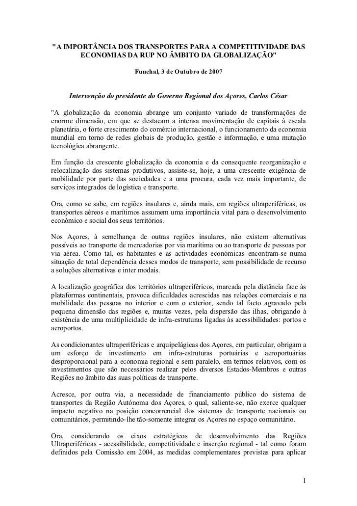 """""""A IMPORTÂNCIA DOS TRANSPORTES PARA A COMPETITIVIDADE DAS       ECONOMIAS DA RUP NO ÂMBITO DA GLOBALIZAÇÃO""""               ..."""
