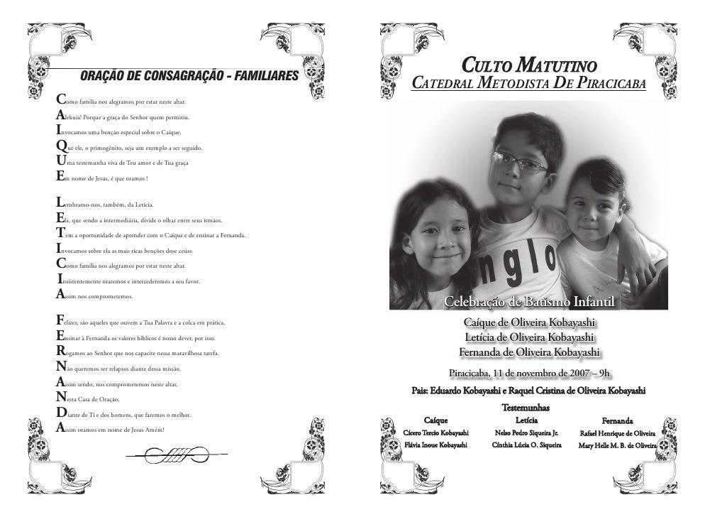 CULTO MATUTINO   CATEDRAL METODISTA DE PIRACICABA                   Celebração de Batismo Infantil                     Caí...
