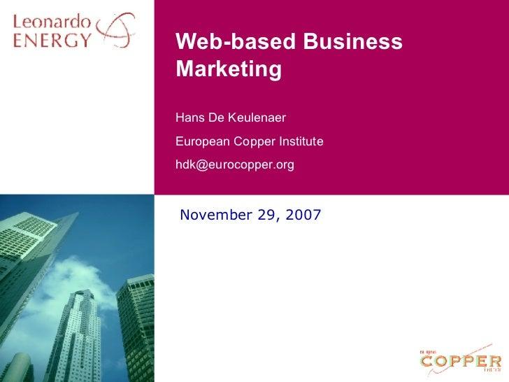 Web-based Business Marketing November 29, 2007