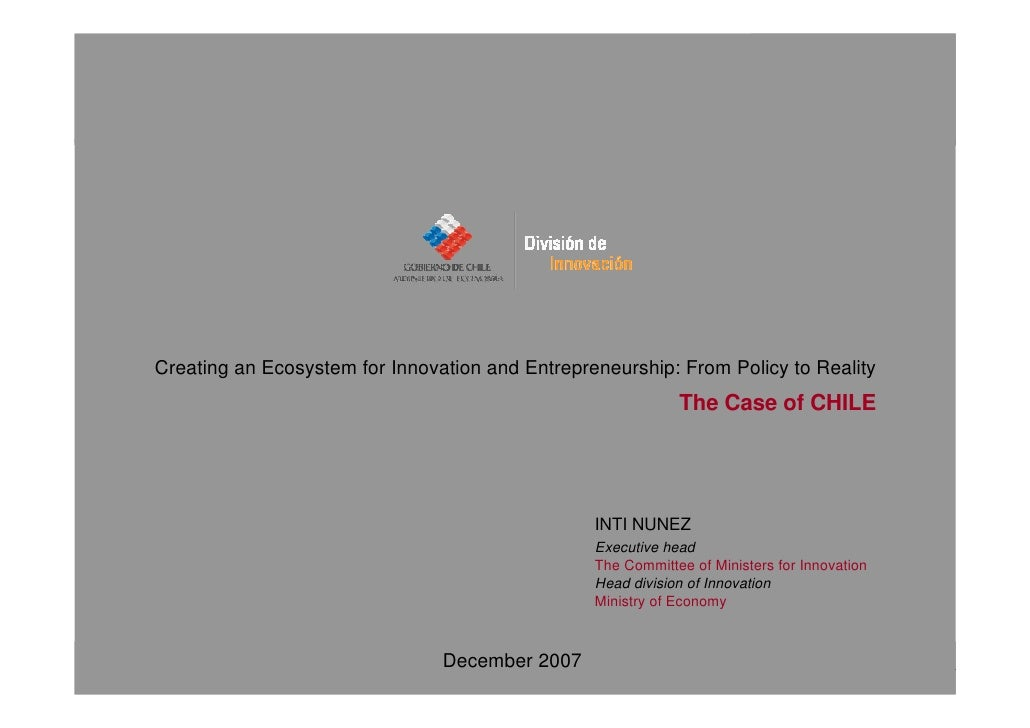 Creating an Ecosystem for Innovation and Entrepreneurship: From Policy to Reality                                         ...