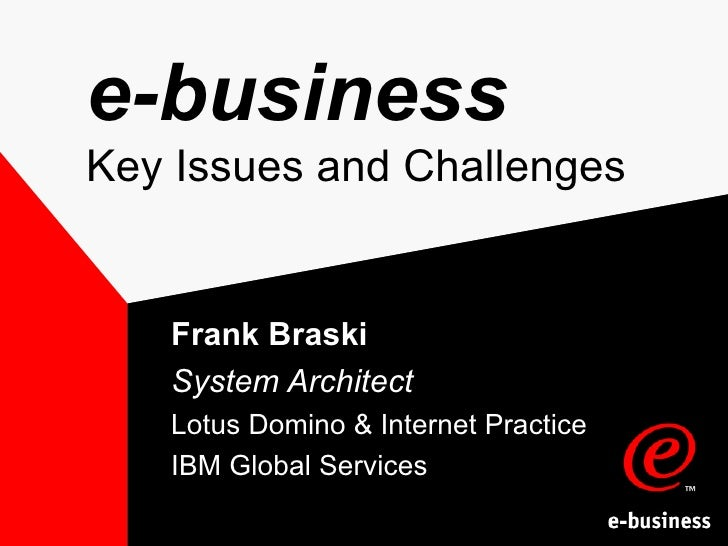 e-business Key Issues and Challenges Frank Braski System Architect Lotus Domino & Internet Practice IBM Global Services