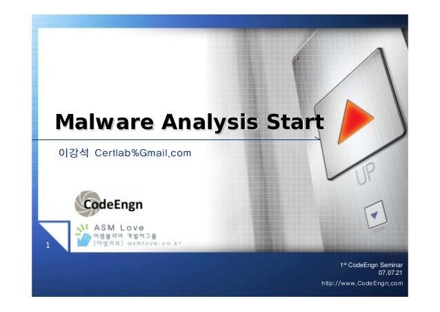 1stCodeEngn Seminar07.07.211http://www.CodeEngn.com이강석이강석 Certlab%Gmail.comCertlab%Gmail.comMalware Analysis StartMalware ...