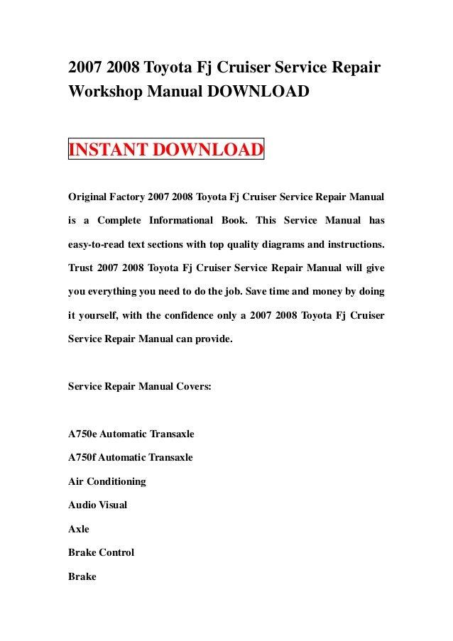 2007 2008 toyota fj cruiser service repair manual download rh slideshare net 2007 fj cruiser repair manual pdf fj cruiser repair manual 2007