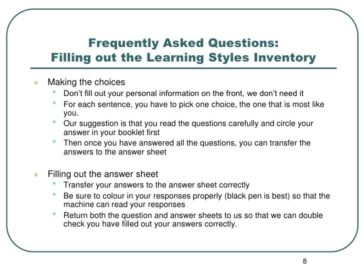 Accommodating reading styles inventory