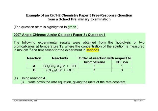 2007 h2 chemistry paper 3
