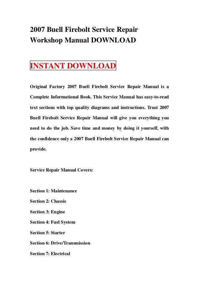 2007 buell firebolt service repair workshop manual download rh slideshare net 2007 Buell Firebolt Air Cleaner 2007 Buell Firebolt Air Filter