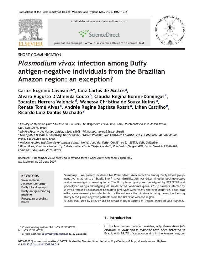 Transactions of the Royal Society of Tropical Medicine and Hygiene (2007) 101, 1042—1044                                  ...