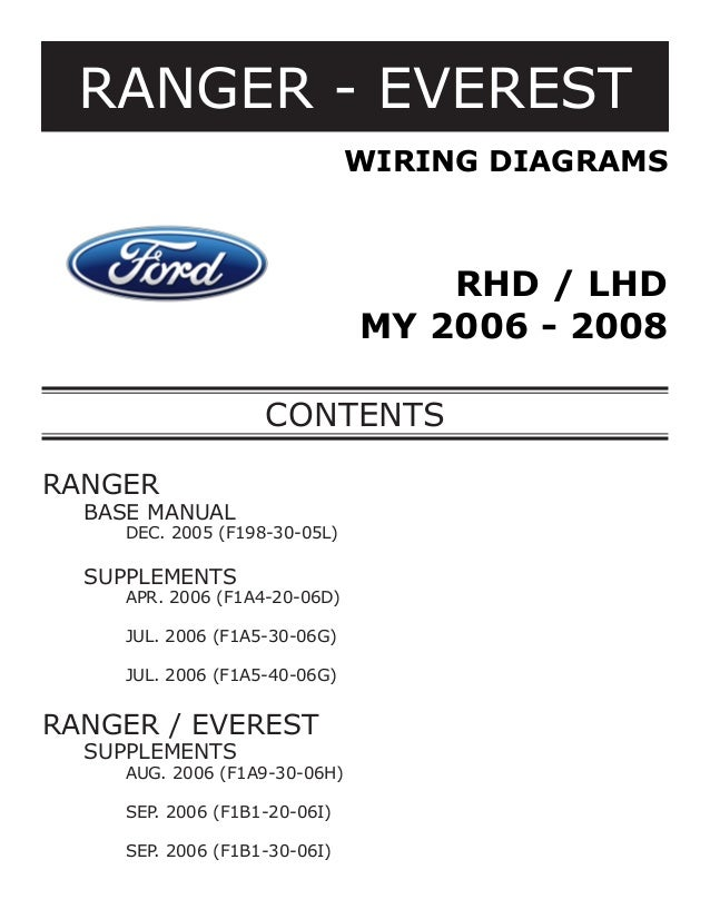 RANGER - EVEREST WIRING DIAGRAMS  RHD / LHD MY 2006 - 2008 CONTENTS RANGER 	  BASE MANUAL  		  DEC. 2005 (F198-30-05L)  	 ...