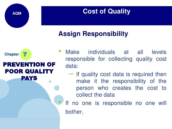 cost of quality This video clip is an updated version of the video presented by the key note speaker, sipho tjabadi, at the 20th annual audit division conference.