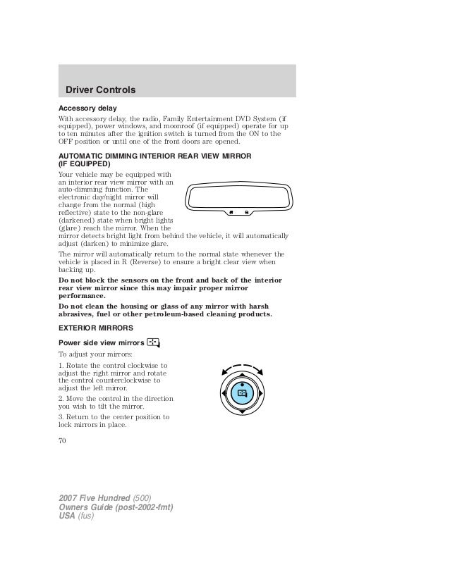 2007 ford five hundred om rh slideshare net Ford DVD Player Rail System Ford SYNC Entertainment System