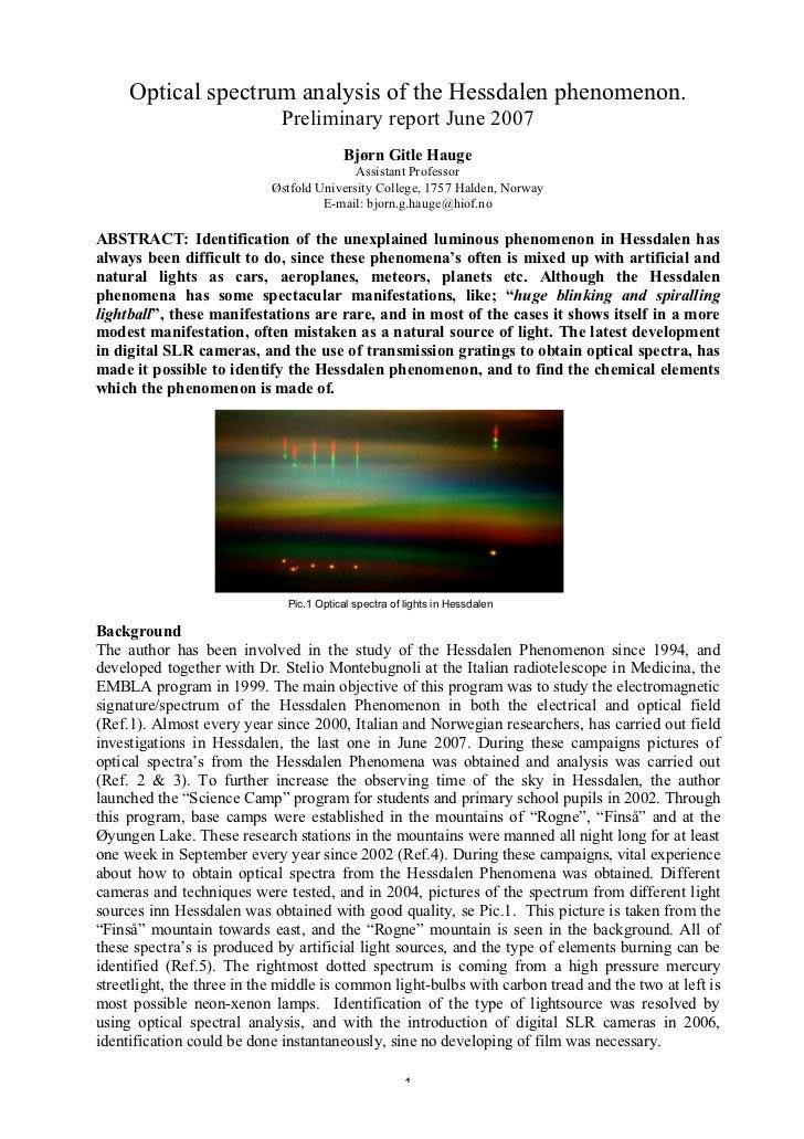 Optical spectrum analysis of the Hessdalen phenomenon  Preliminary r…