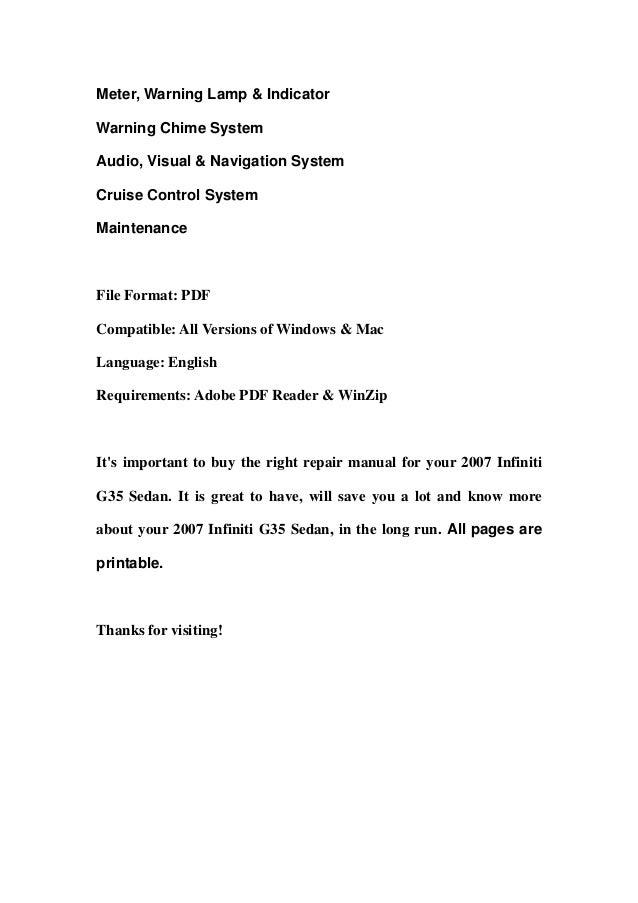 2007 infiniti g35 sedan service repair manual download