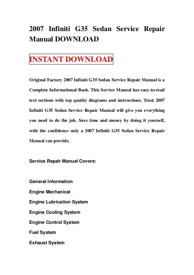 2007 infiniti g35 sedan service repair manual 2007 infiniti g35 sedan service repairmanual instant original factory 2007 infiniti g35 sedan service repa