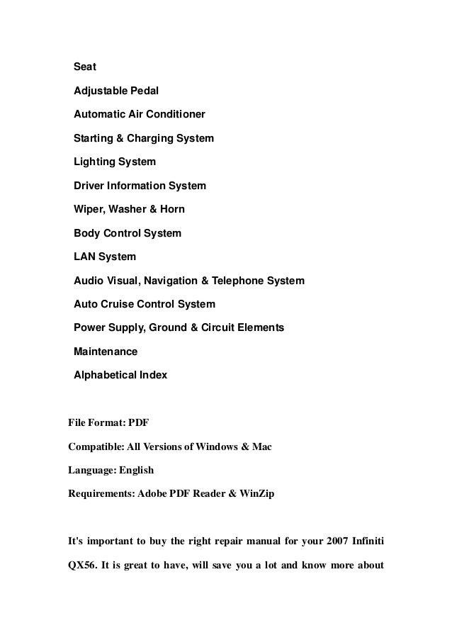2007 infiniti qx56 service repair manual download rh slideshare net 2008 infiniti qx56 service manual 2010 infiniti qx56 service manual