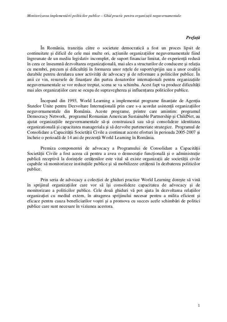 Monitorizarea implementării politicilor publice – Ghid practic pentru organizaŃii neguvernamentale                        ...