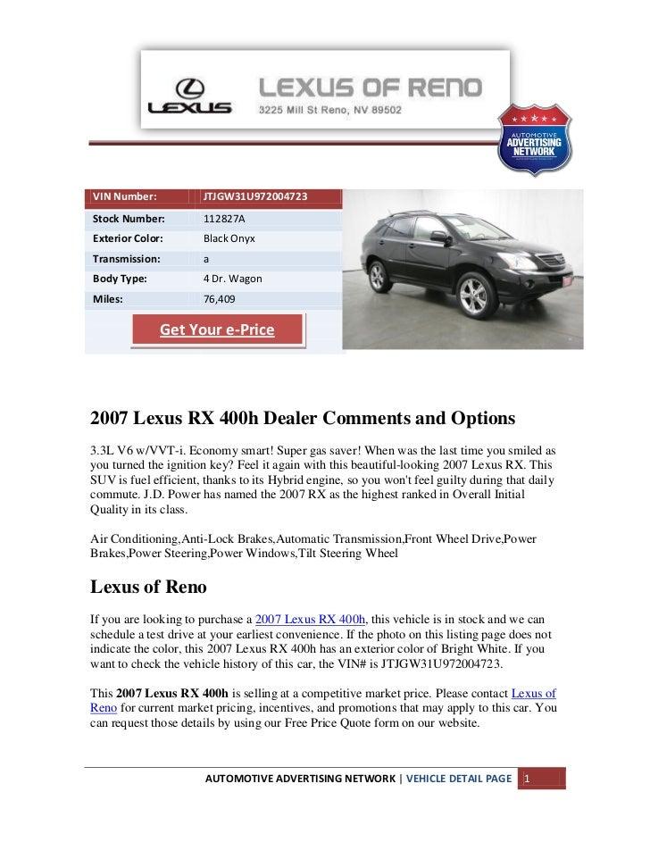 Lexus Vin Decoder >> 2007 Lexus Rx 400h Reno