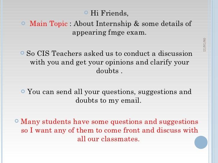 Discussion 1: Internship & Fmge ExAM