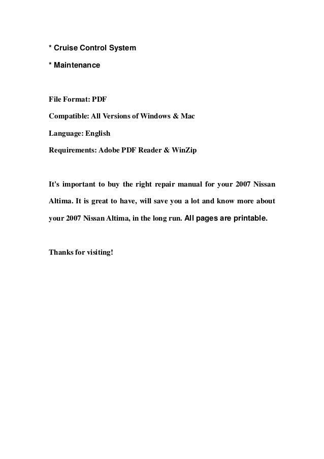 nissan altima 2007 service manual