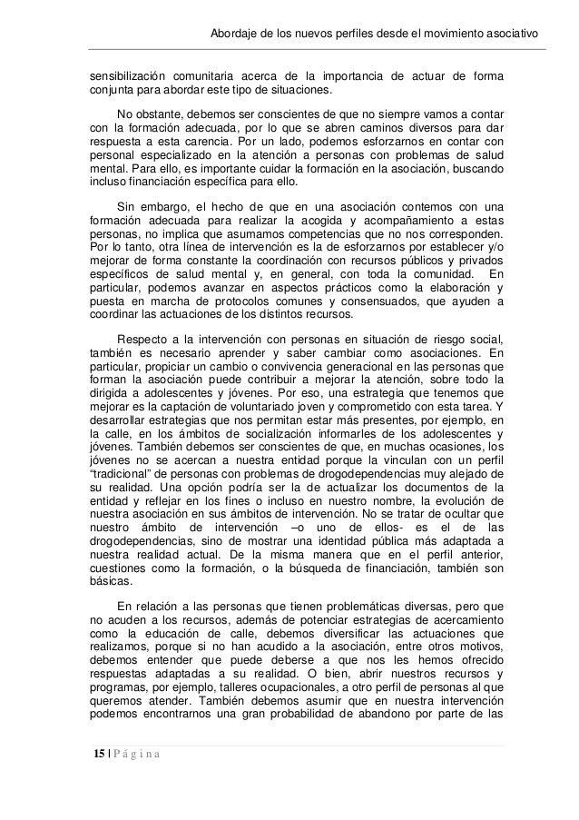 15   P á g i n a Abordaje de los nuevos perfiles desde el movimiento asociativo sensibilización comunitaria acerca de la i...