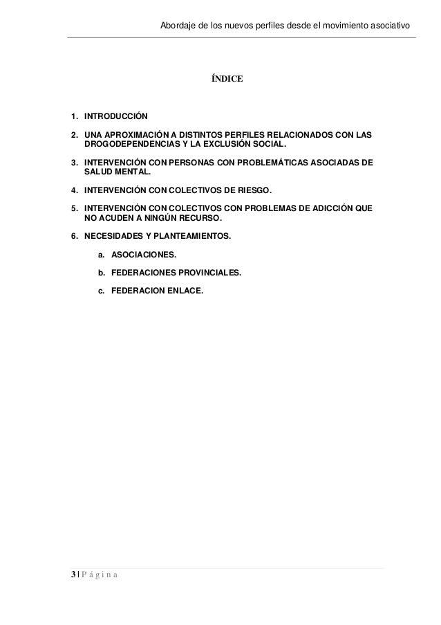 3   P á g i n a Abordaje de los nuevos perfiles desde el movimiento asociativo ÍNDICE 1. INTRODUCCIÓN 2. UNA APROXIMACIÓN ...
