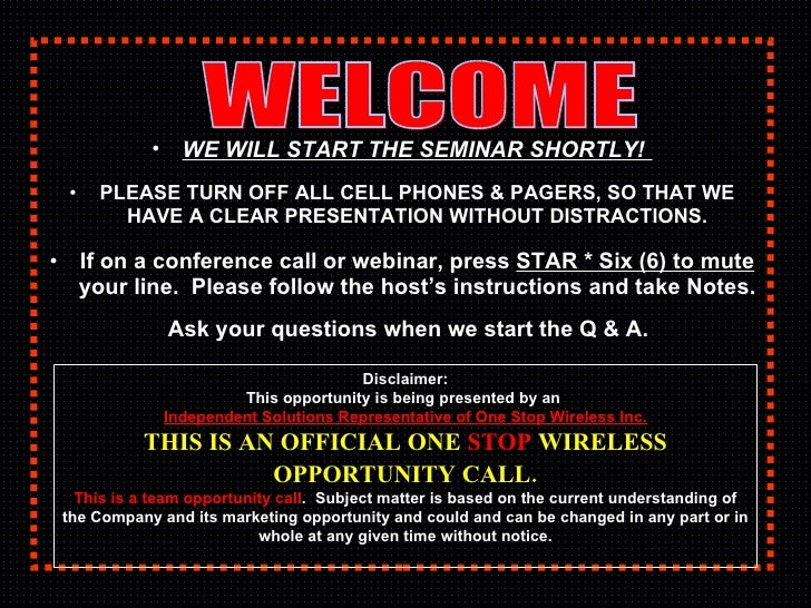 <ul><li>WE WILL START THE SEMINAR SHORTLY!   </li></ul><ul><li>PLEASE TURN OFF ALL CELL PHONES & PAGERS, SO THAT WE HAVE A...