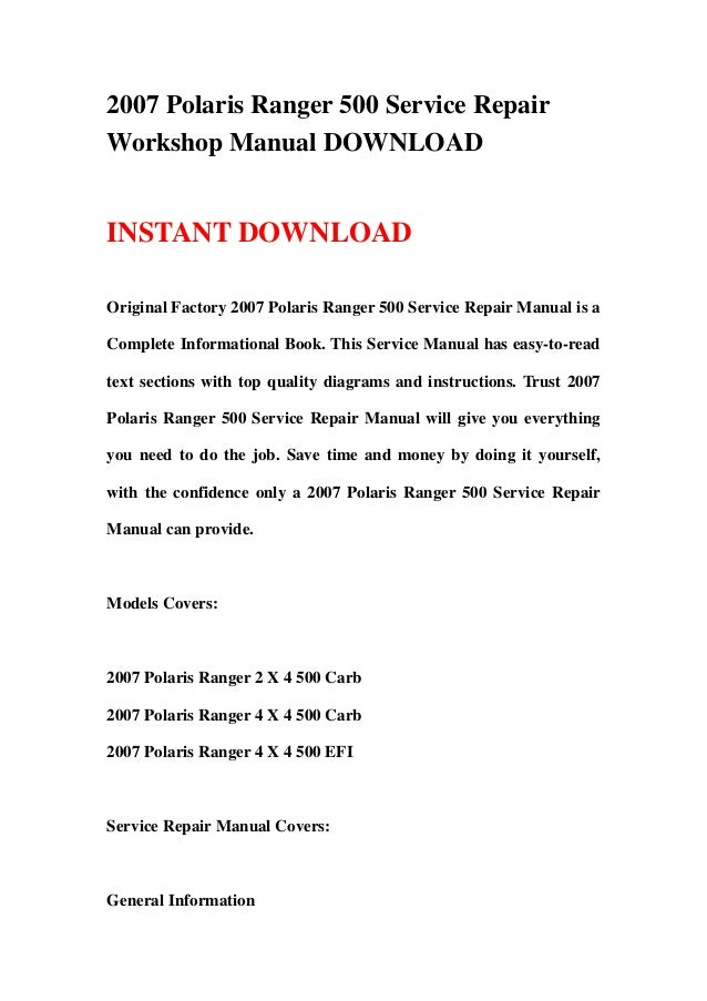 2007 Polaris Ranger 500 Service RepairWorkshop Manual DOWNLOADINSTANT DOWNLOADOriginal Factory 2007 Polaris Ranger 500 Ser...