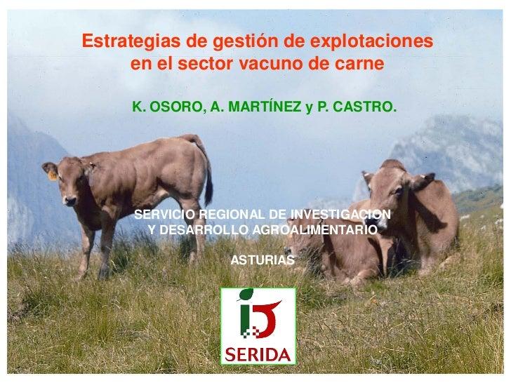 Estrategias de gestión de explotaciones      en el sector vacuno de carne     K. OSORO, A. MARTÍNEZ y P. CASTRO.     SERVI...