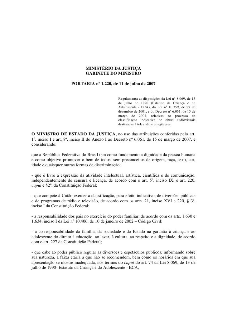 MINISTÉRIO DA JUSTIÇA                              GABINETE DO MINISTRO                      PORTARIA nº 1.220, de 11 de j...