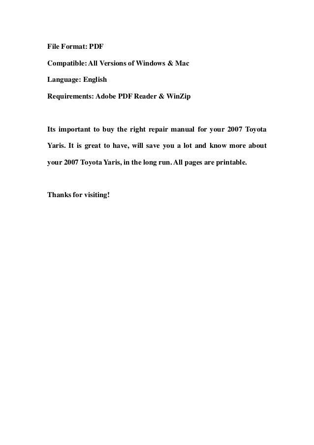 2007 toyota yaris service manual