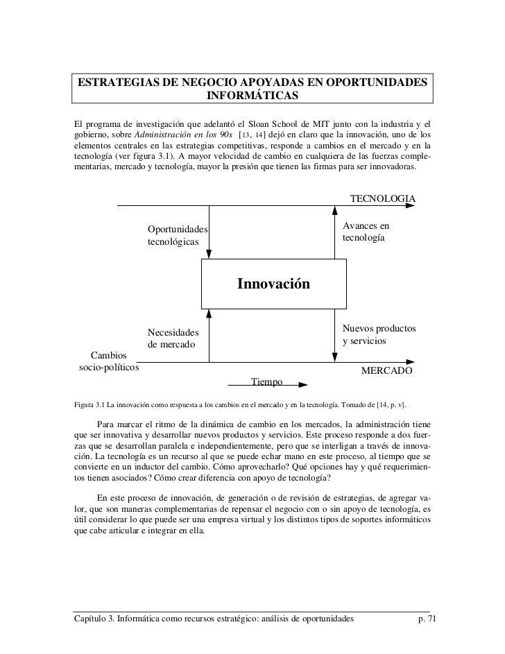 ESTRATEGIAS DE NEGOCIO APOYADAS EN OPORTUNIDADES                   INFORMÁTICASEl programa de investigación que adelantó e...